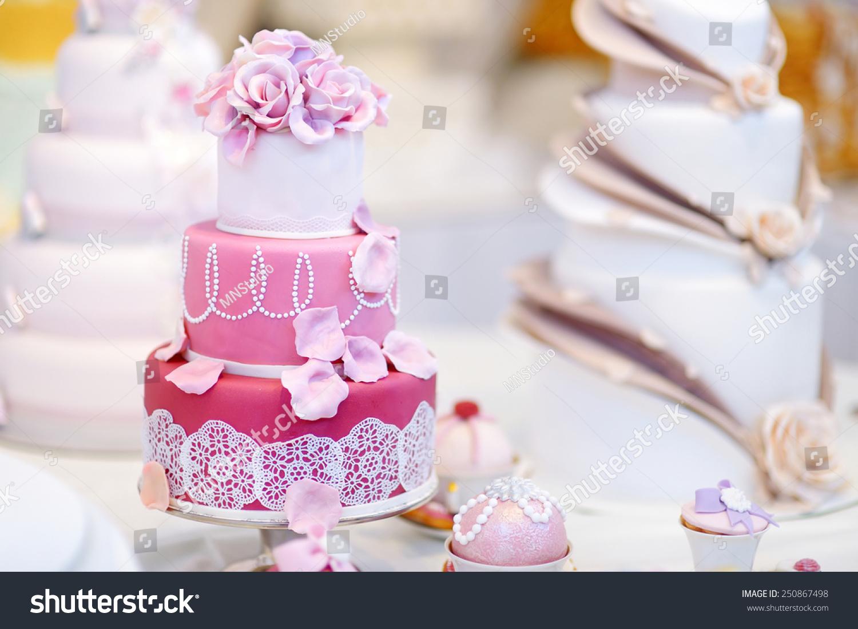White Wedding Cake Decorated Pink Sugar Stock Photo (Edit Now ...