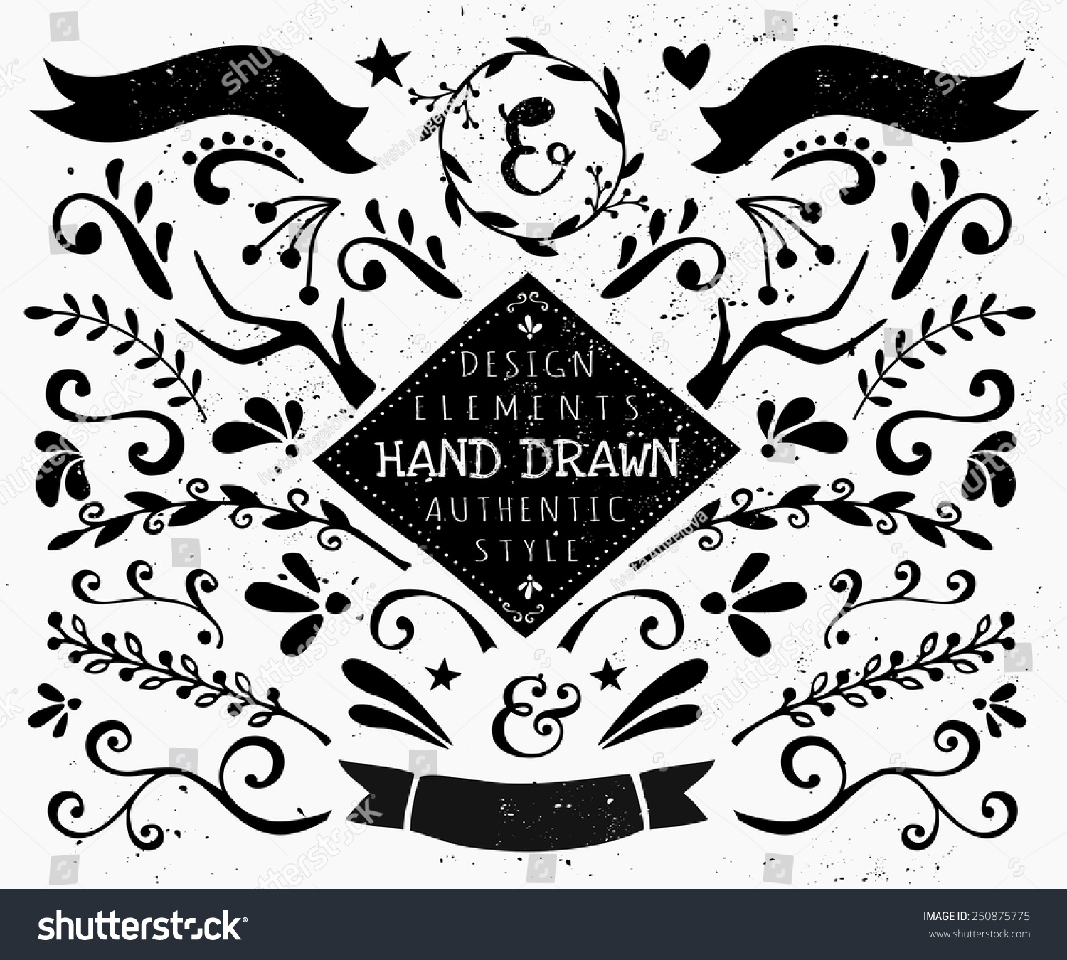 A set of vintage style design elements in black and white  Hand drawn  decorative elements. Set Vintage Style Design Elements Black Stock Vector 250875775
