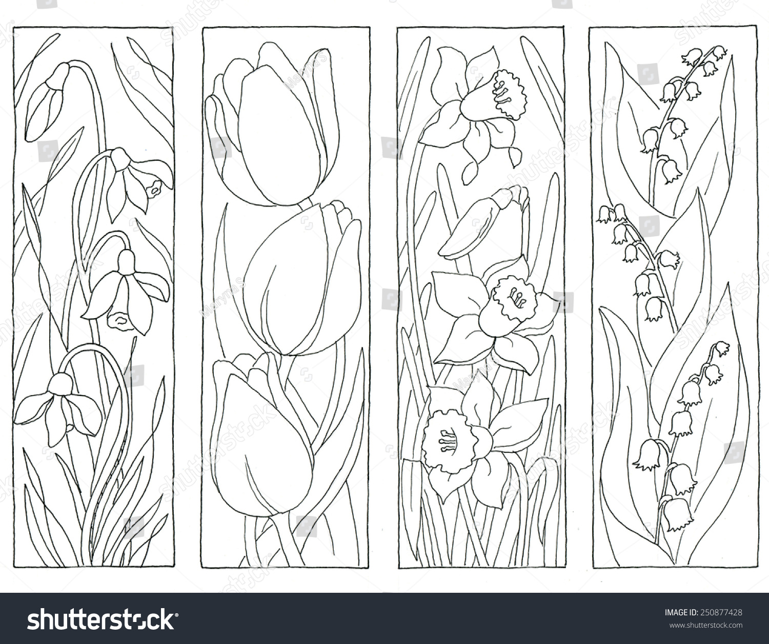 Coloring Page Spring Flowers Bookmarks Stockillustration ...