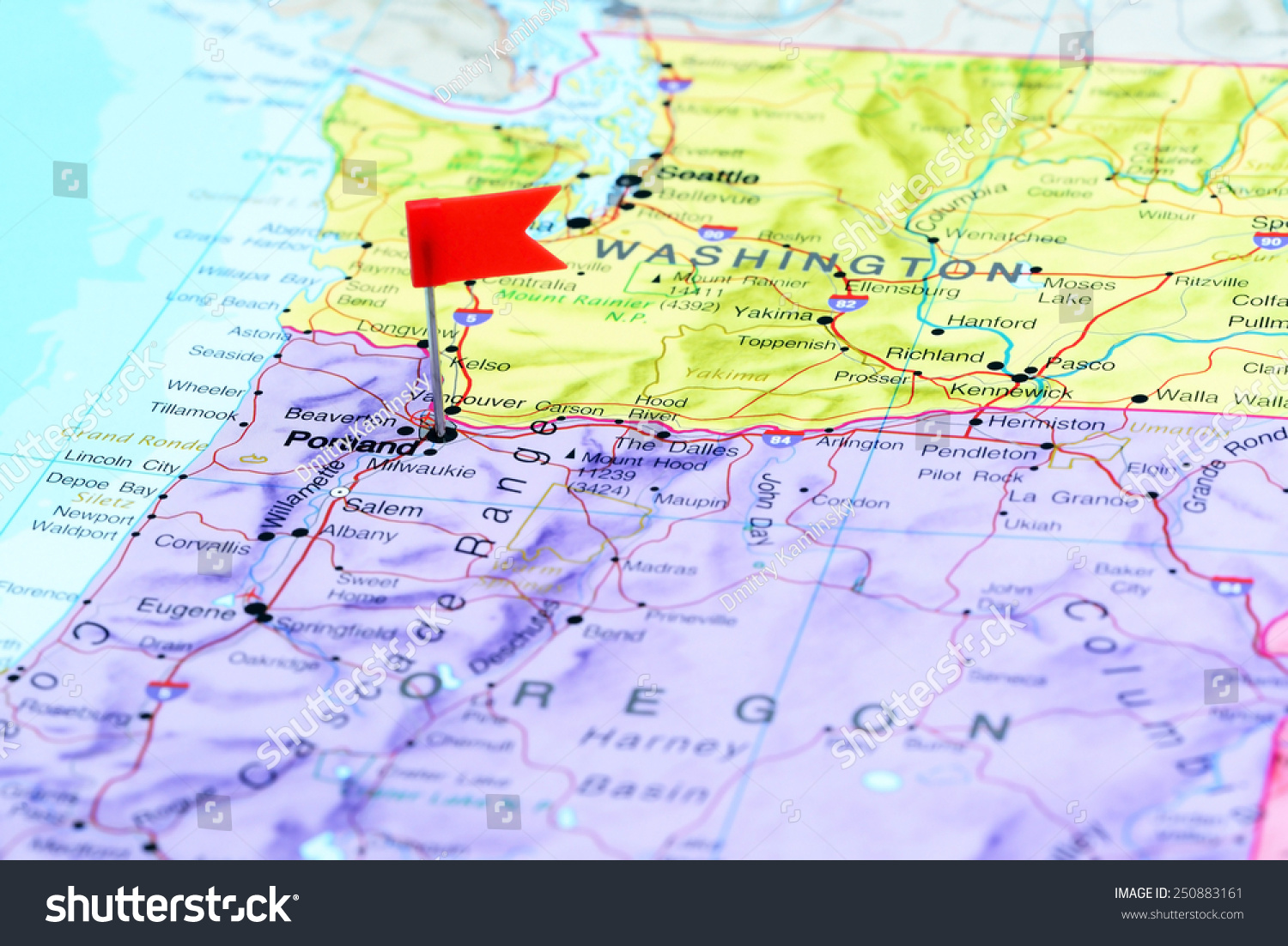 Portland Pinned On Map Usa Stock Photo Shutterstock - Portland usa map