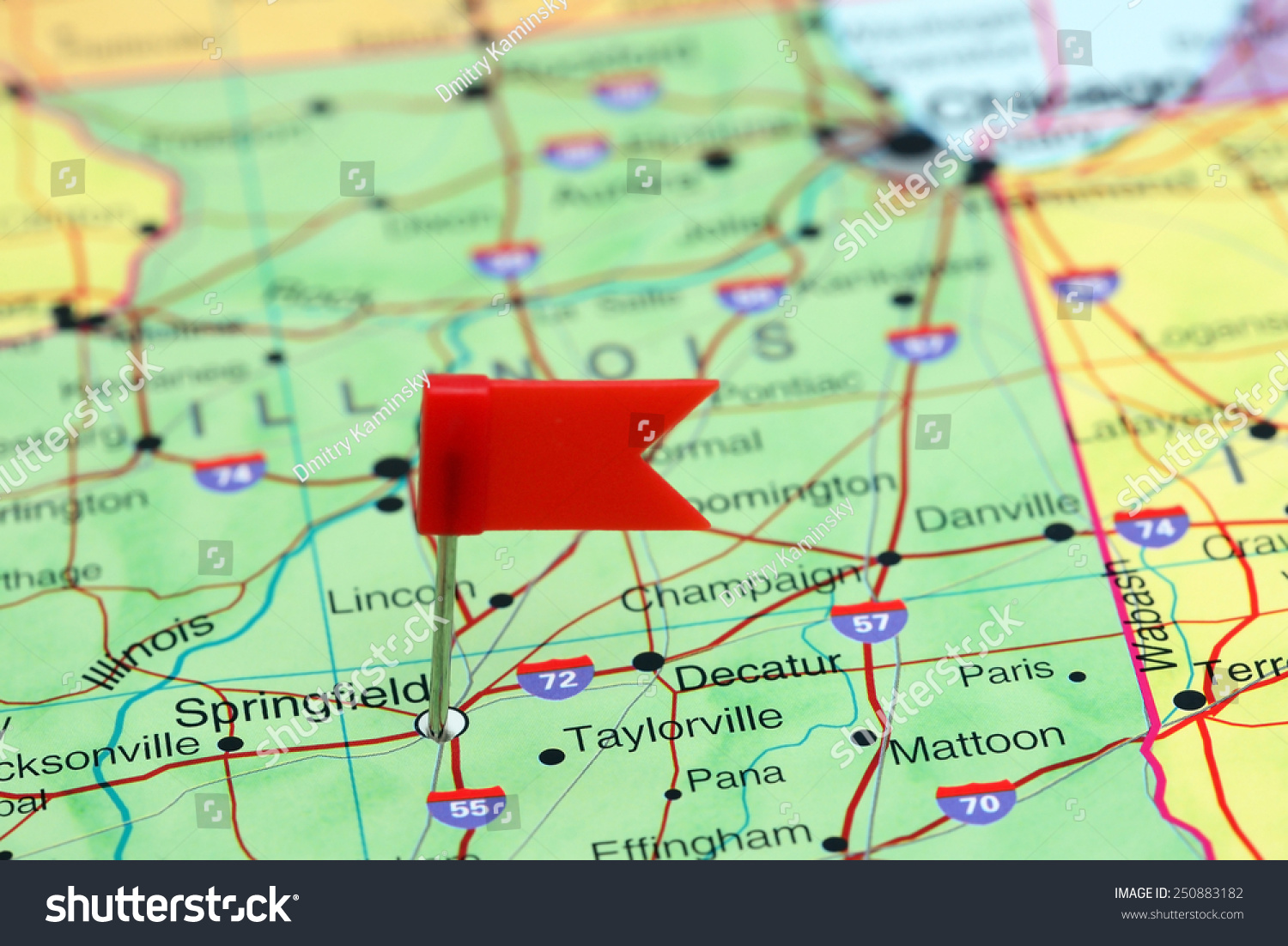 Springfield Pinned On Map Usa Stock Photo 250883182 Shutterstock