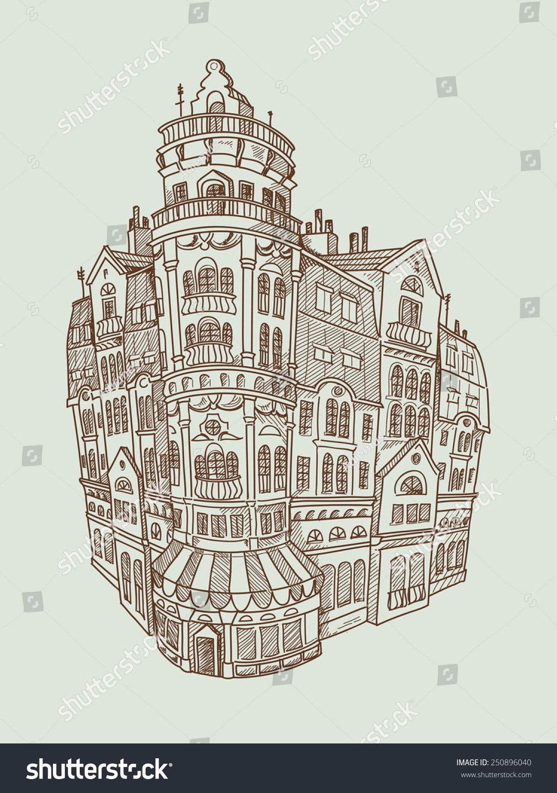 Drawing Of Multistory Luxury House Stylized As French Architecture