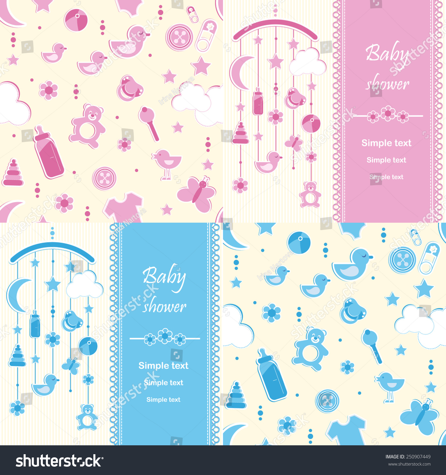 Set Baby Shower Background Greeting Card Stock Vector