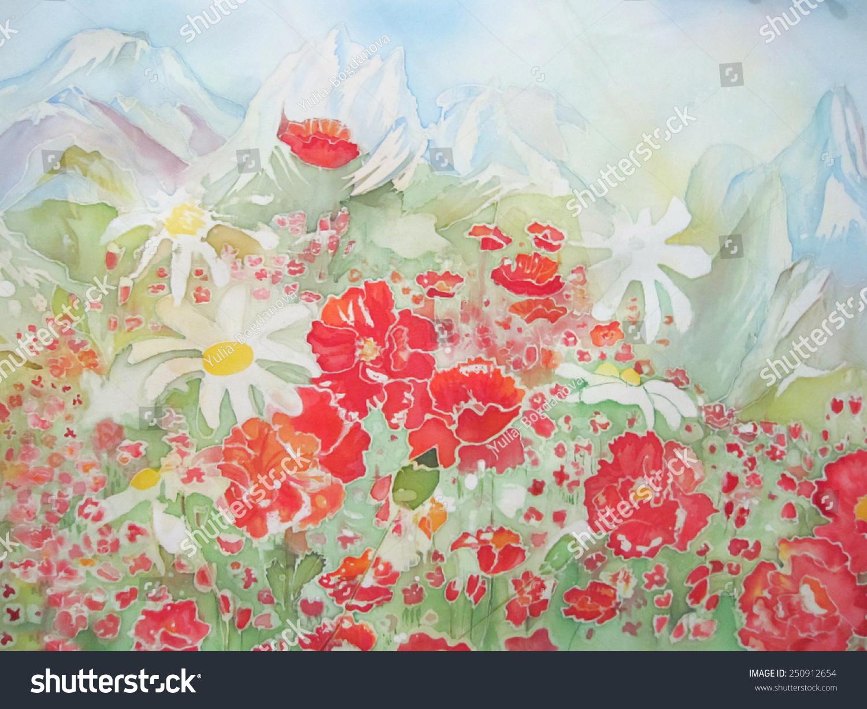 Mountains Flowers Original Modern Batik Painting Stock Illustration