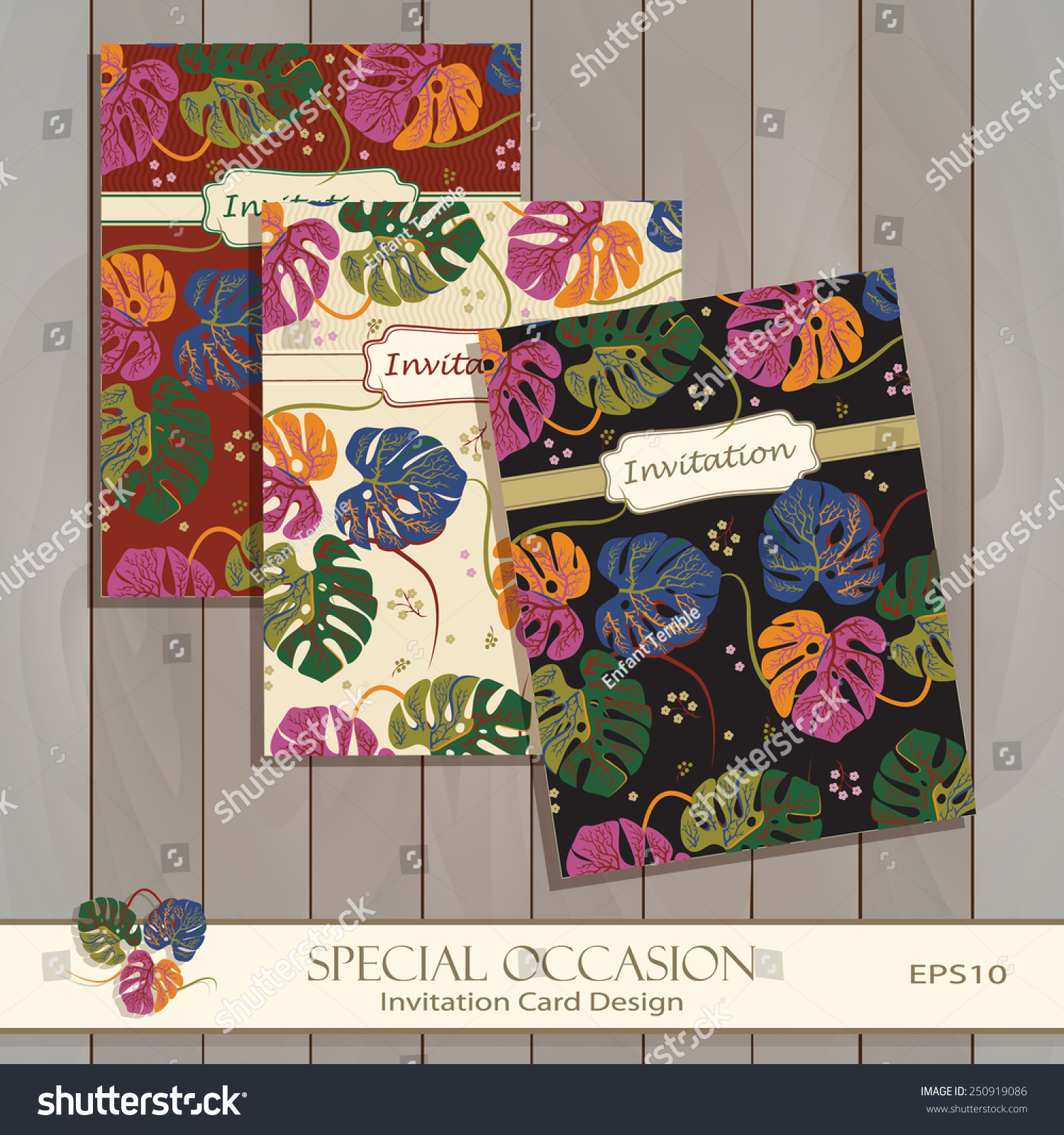 Invitation Card Design Template Greeting Floral Stock Vector