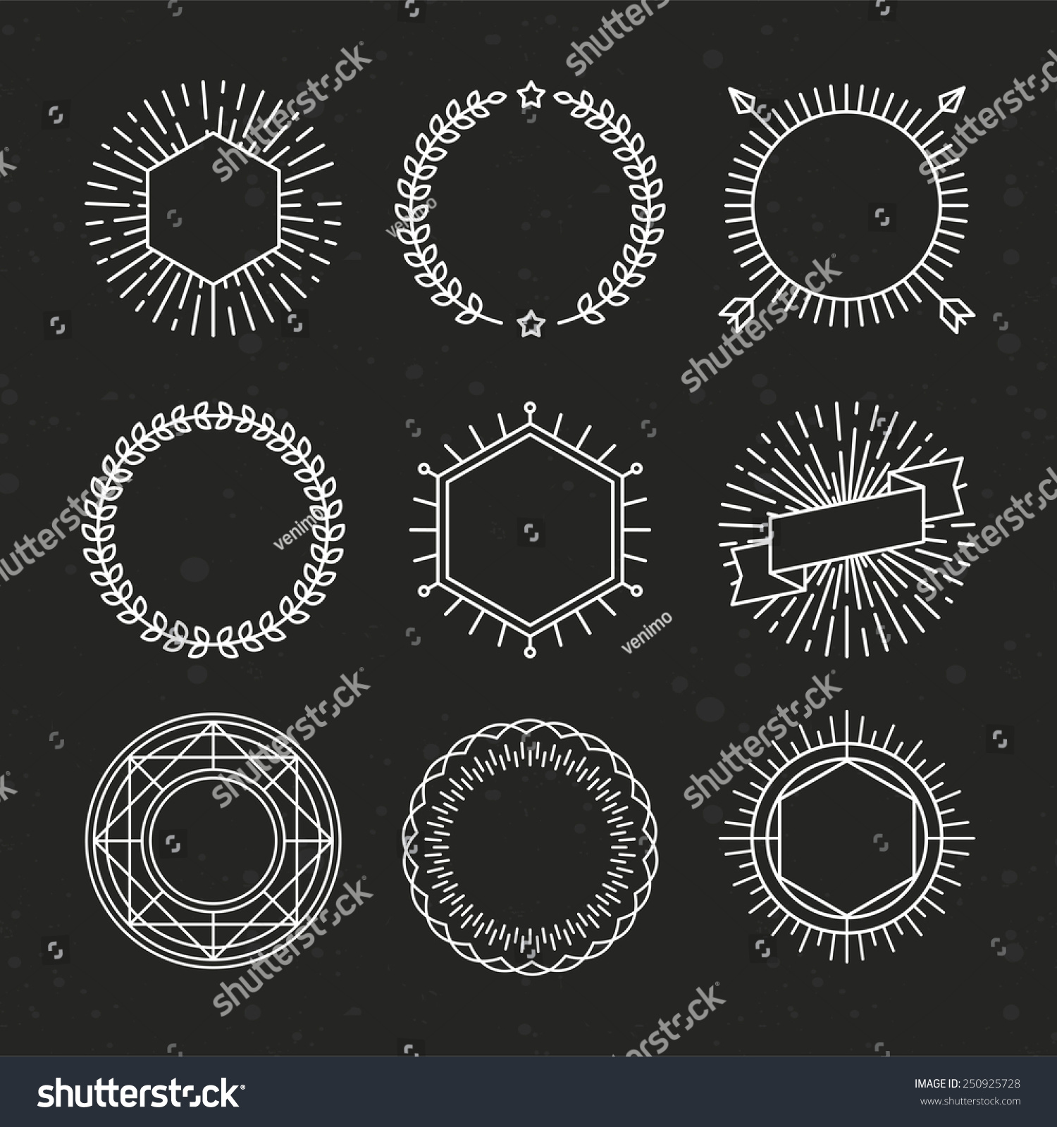 vector set outline emblems badges abstract stock vector royalty