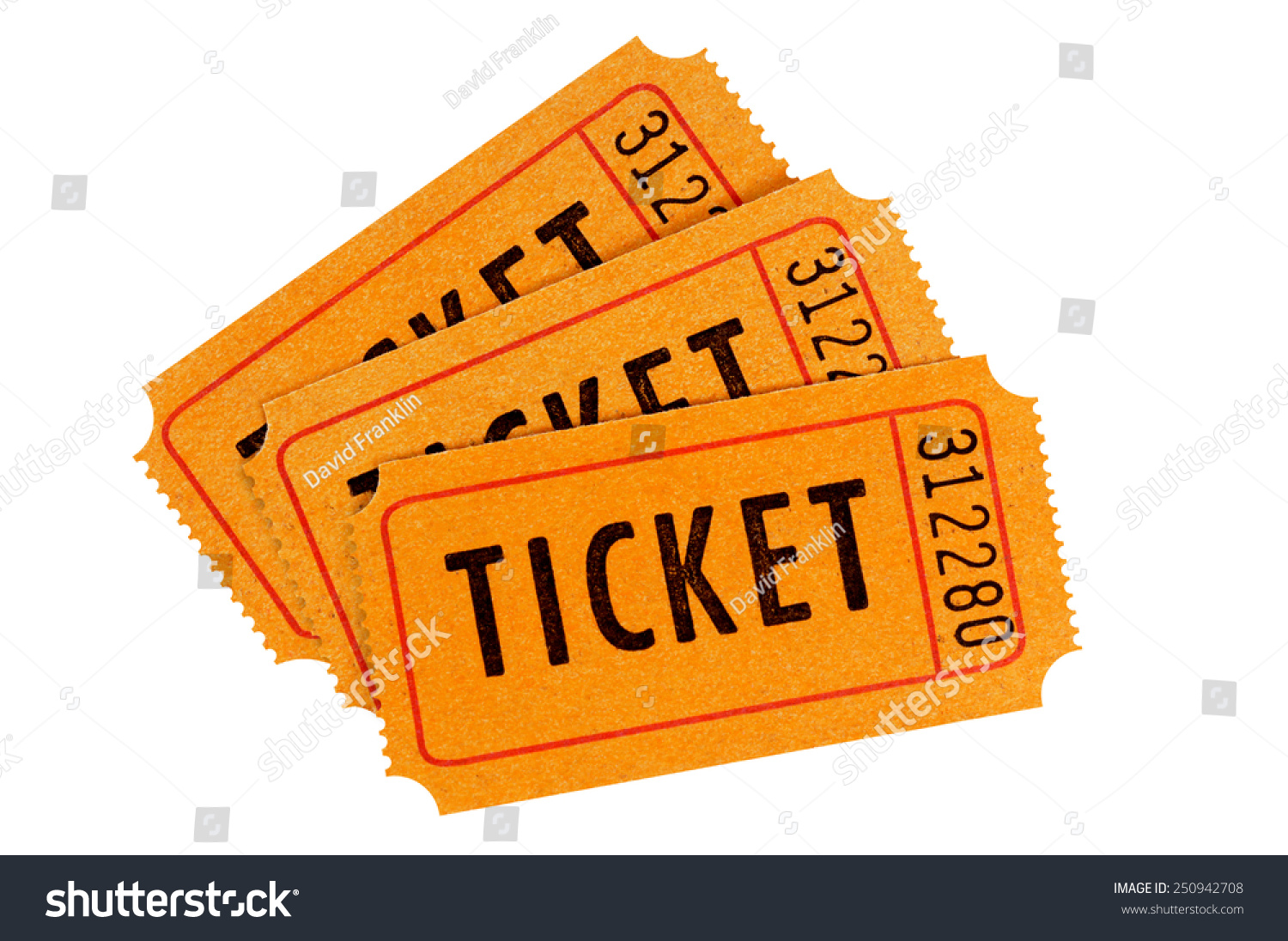 raffle ticket group three orange movie stock photo 250942708 raffle ticket group of three orange movie or concert tickets isolated on a white background