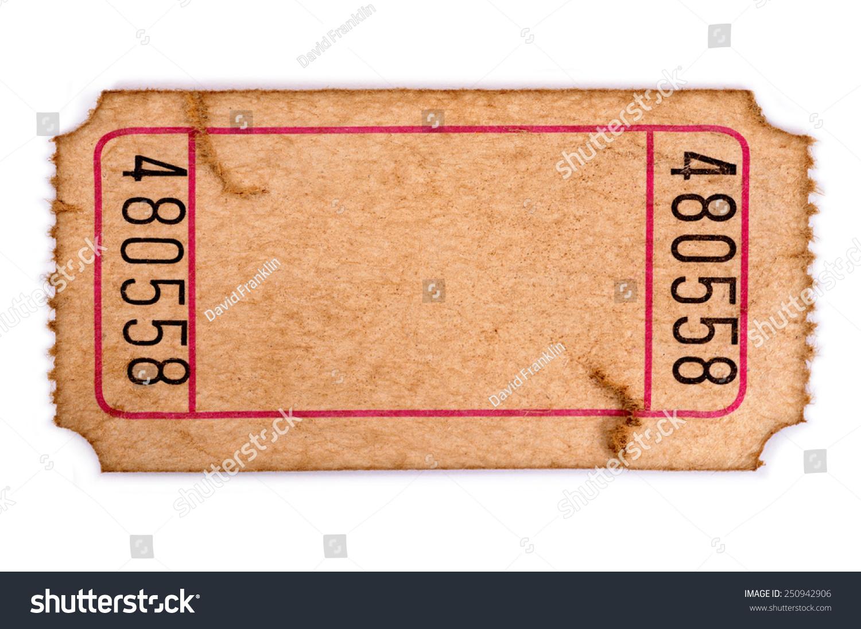 old ticket torn blank movie raffle stock photo  old ticket torn blank movie or raffle ticket isolated on white