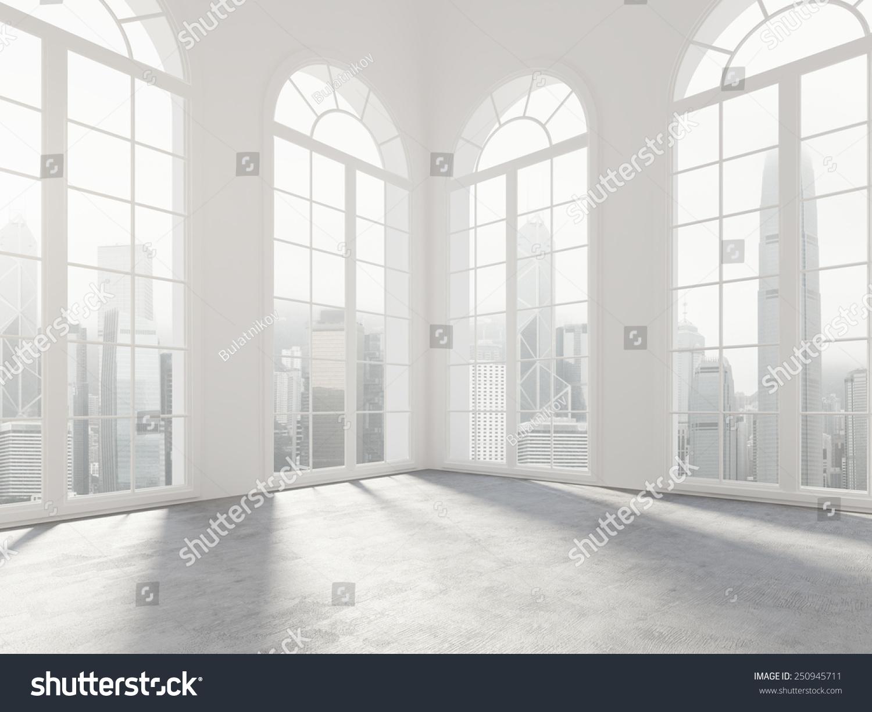 Big empty living room - Empty White Room Big Windows 3d Stock Illustration 250945711