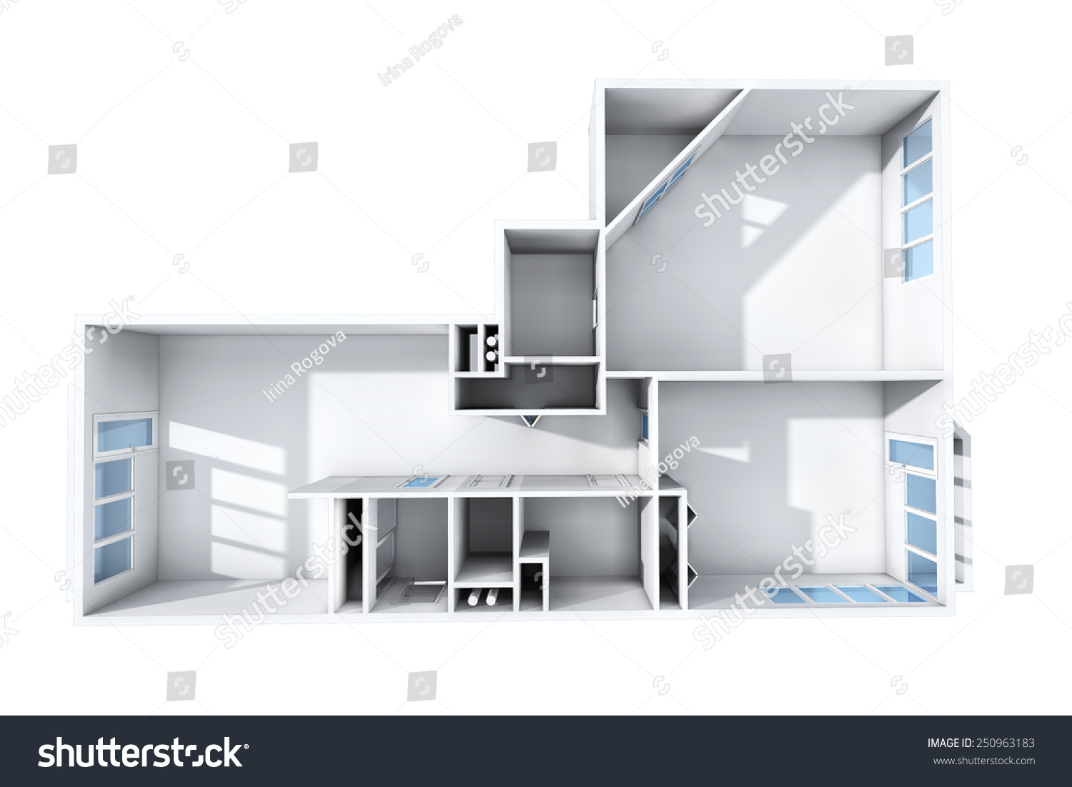 Model Of The Three Room Apartment. The Empty Apartment Without Furniture