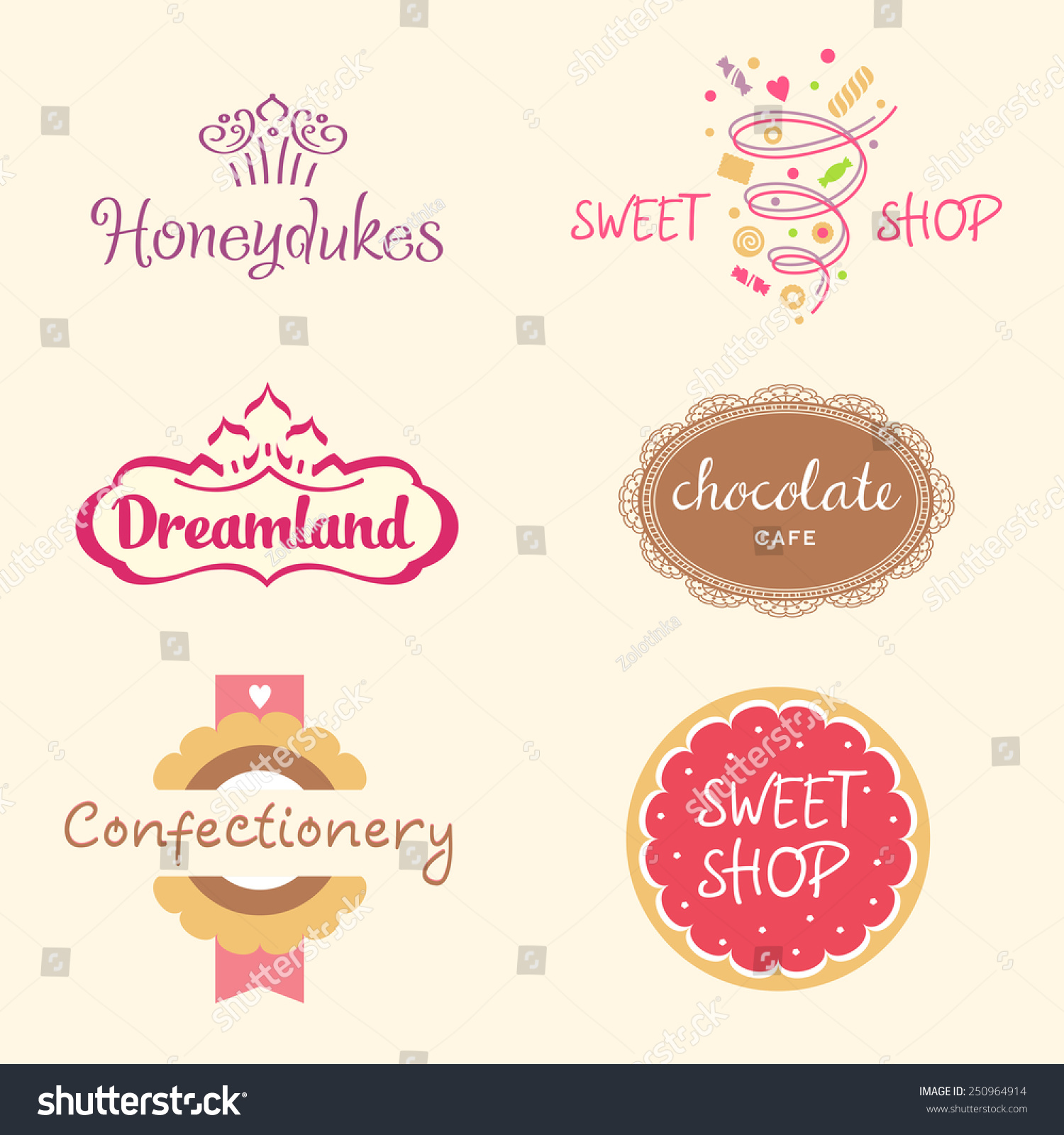 Royalty free set of logo templates for confectionery 250964914 set of logo templates for confectionery bakery candy store candy and cookies pronofoot35fo Image collections