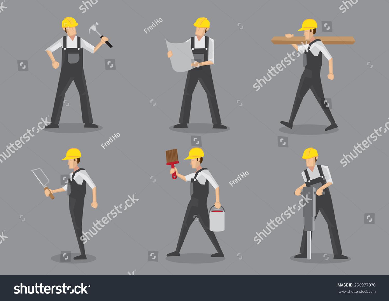 Character Design Tools : Construction builder yellow helmet overall work stock