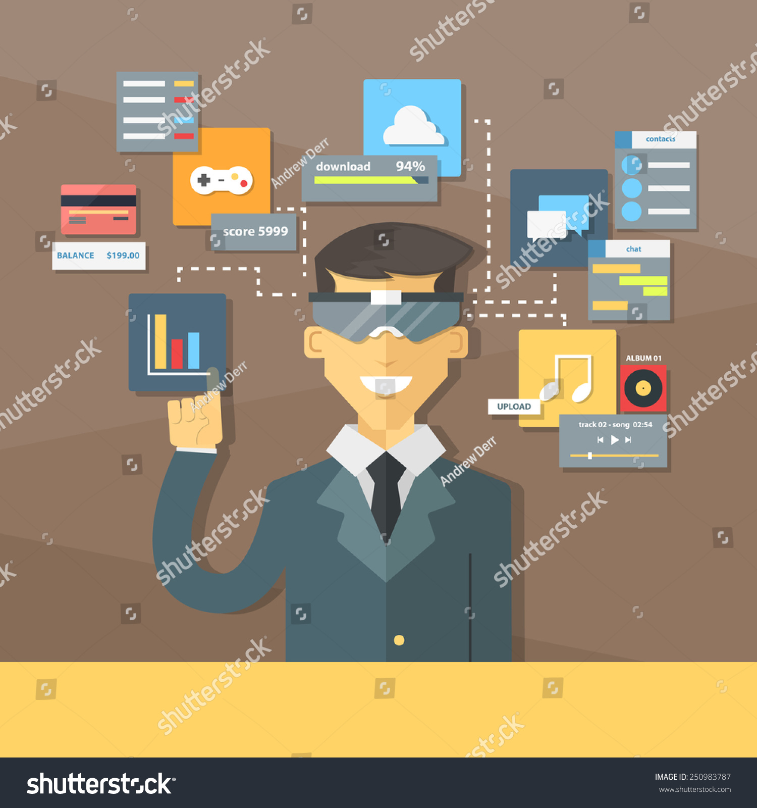 glasses augmented reality flat illustration elements stock vector