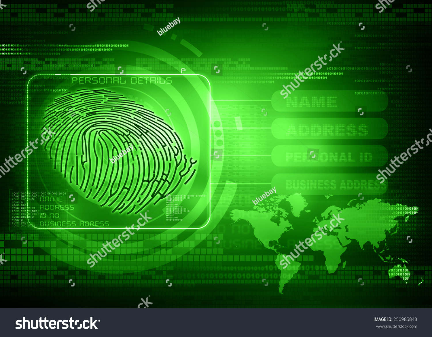 New Technology Of Thumb Impression Finger Print Identity Abstract Wireframe Globe On Circuit Board And Binary Code Background Ez Canvas