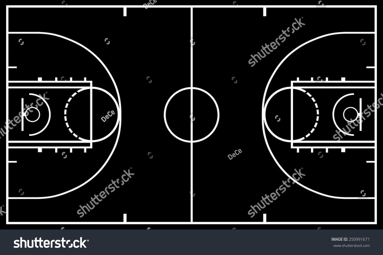 Basketball Court Black Background Stock Vector 250991671 ...
