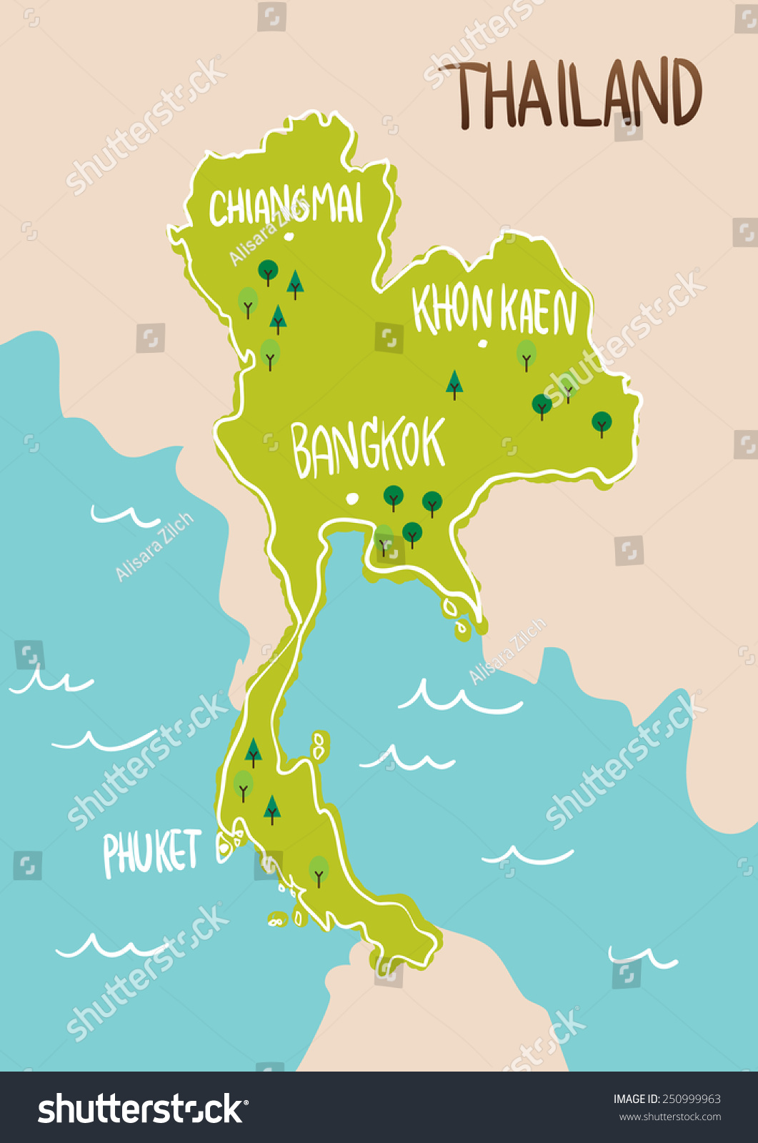 thailand map drawing illustration vector stock vector 250999963