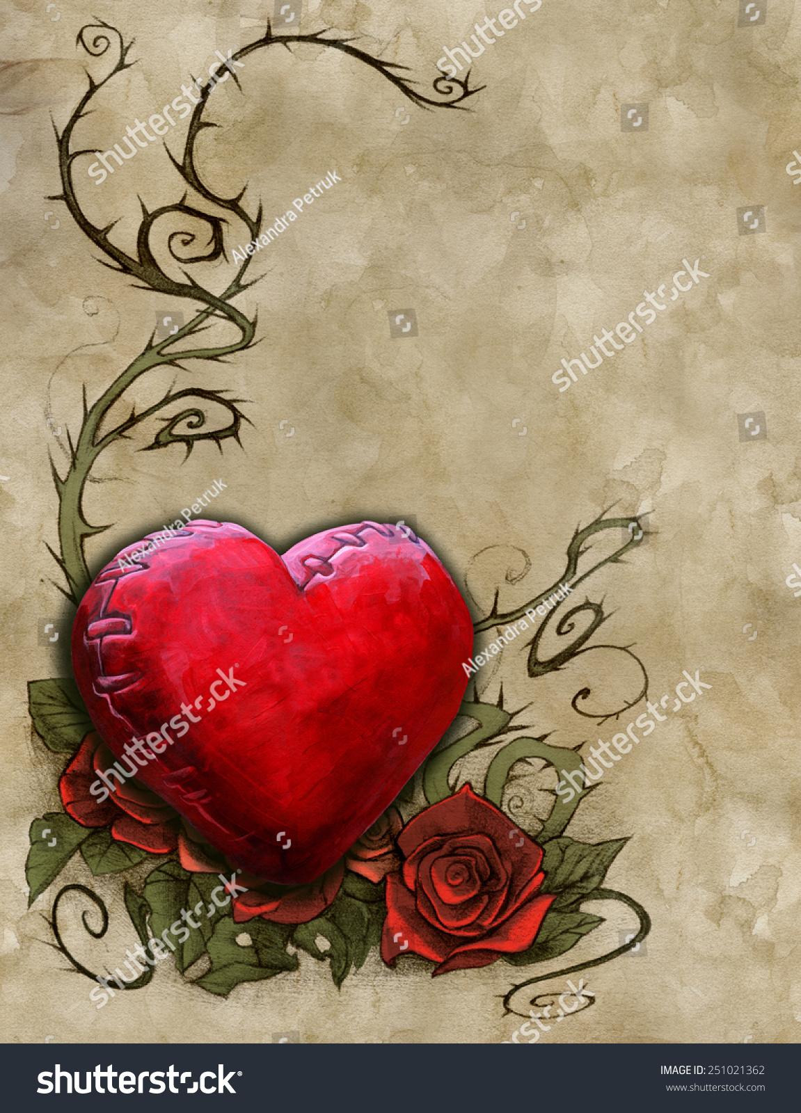 Wedding Invitation Card Design Red Heart Stock Illustration ...