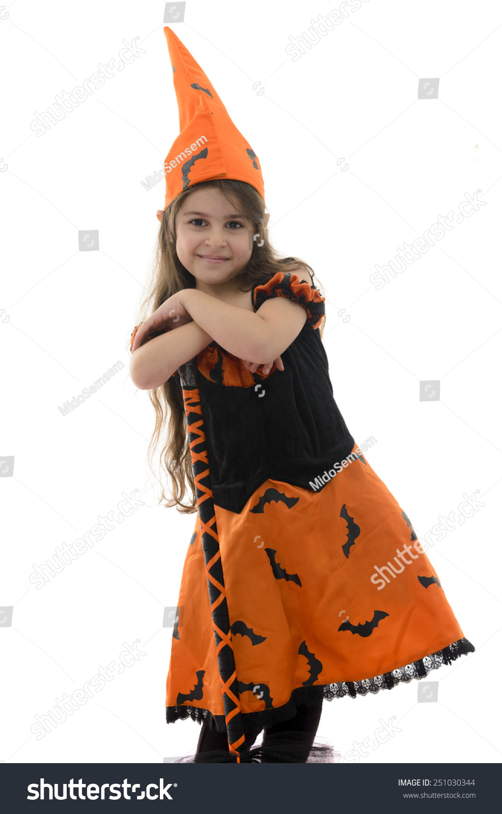 Beautiful Witch Girl Broom Isolated On Stock Photo 251030344 ...