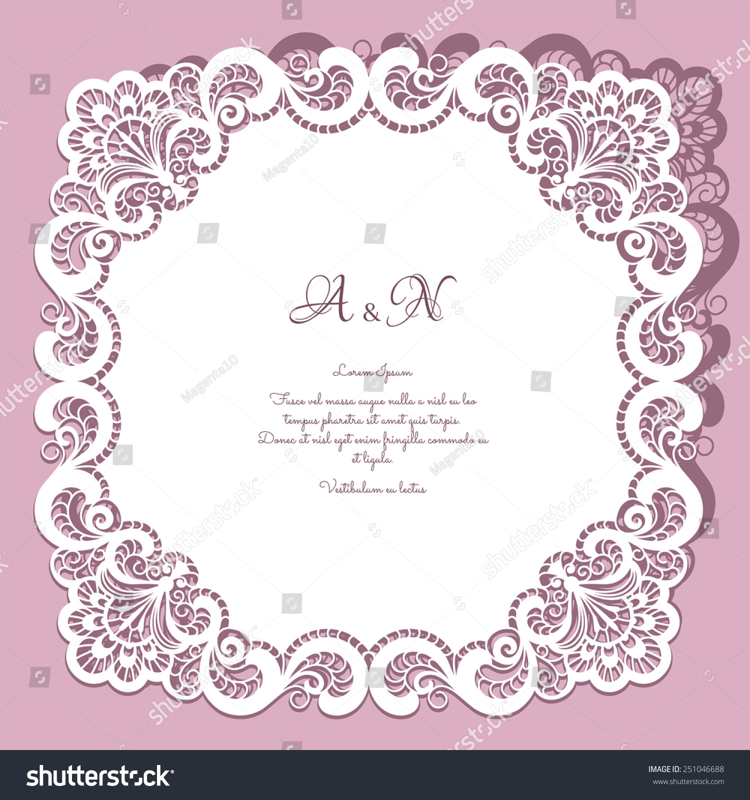 Square Paper Lace Frame Lacy Doily Stock Vector 251046688 ...