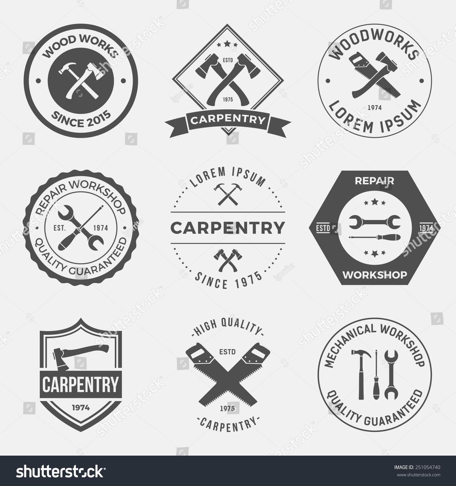 Set Working Tools Carpentry Workshop Labels Stock Vector