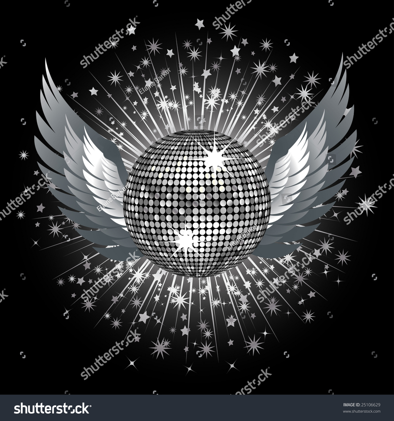 sparkling silver disco ball wings on stock vector 25106629