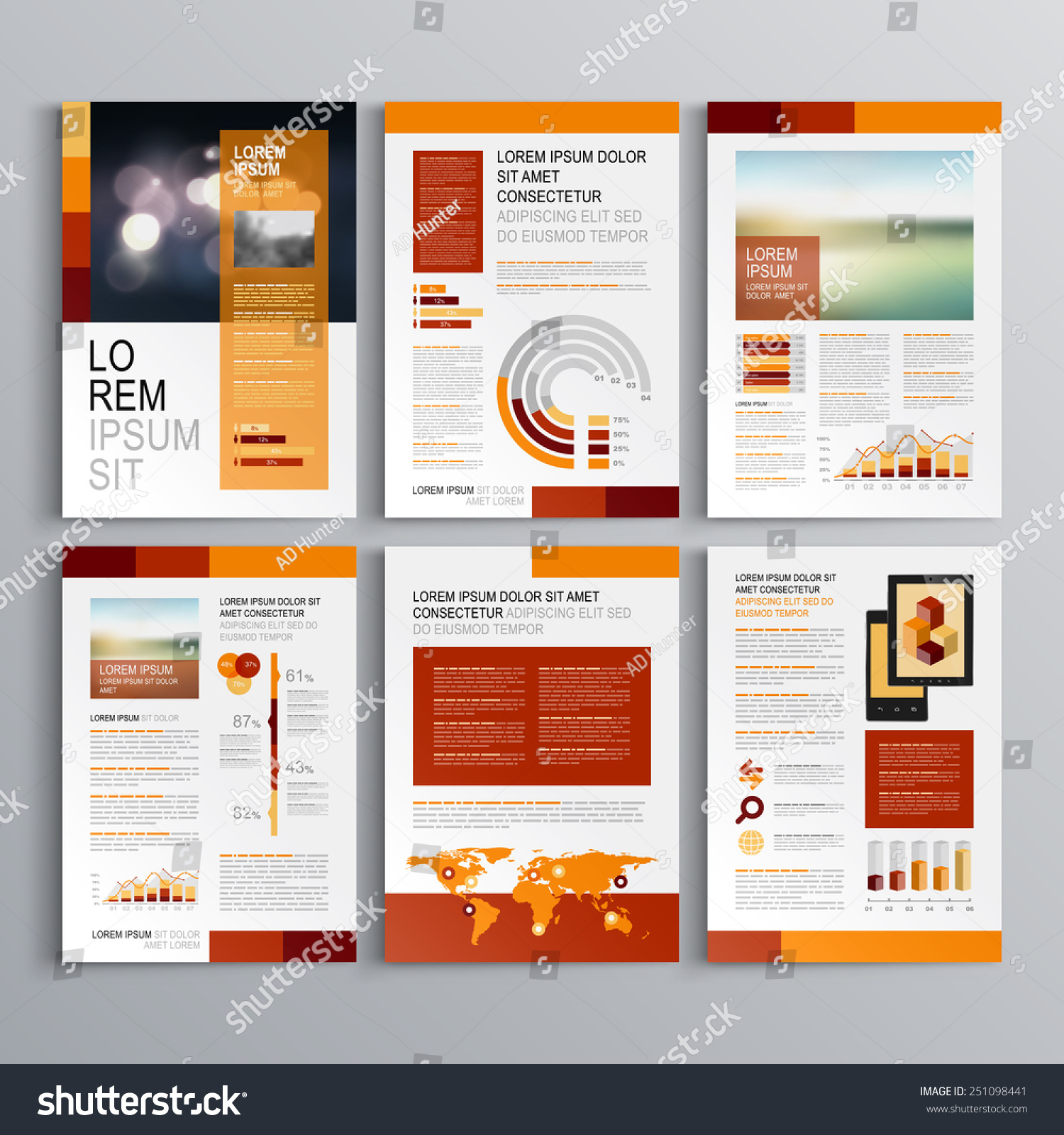 Red brochure template design orange vertical stock vector for Red brochure template