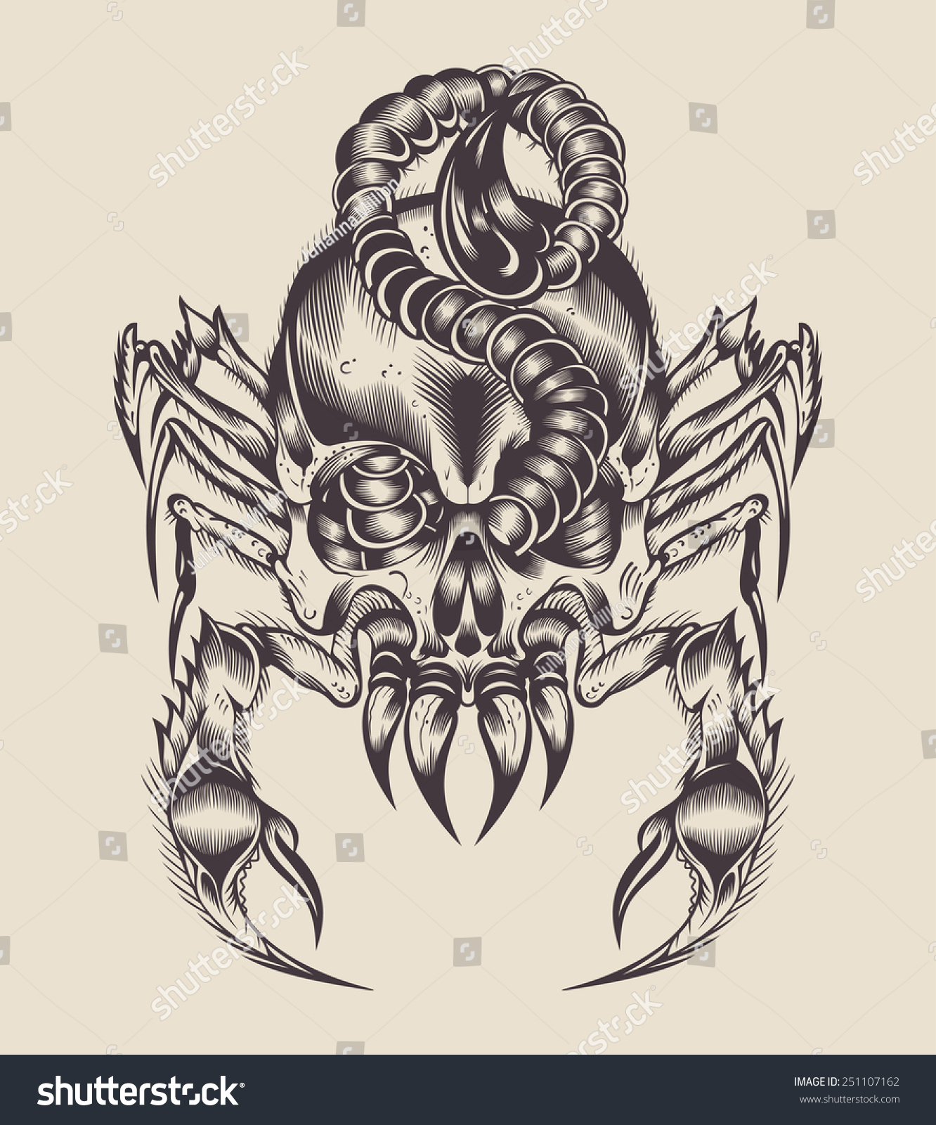 Illustration Monster Scorpion Skull Stock Vector 251107162