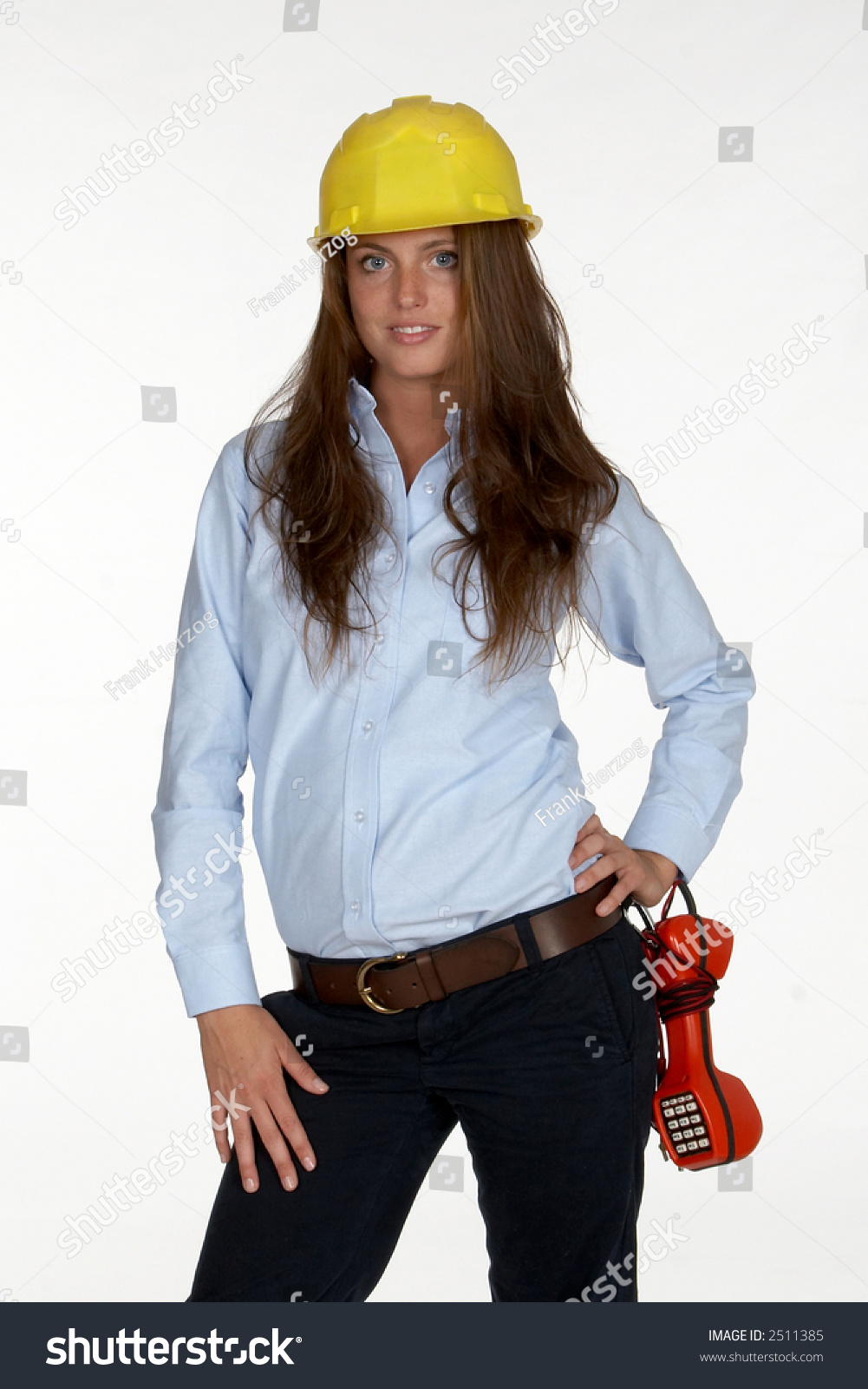 Young Female Telephone Technician Hardhat Butt Stock Photo 2511385 ...