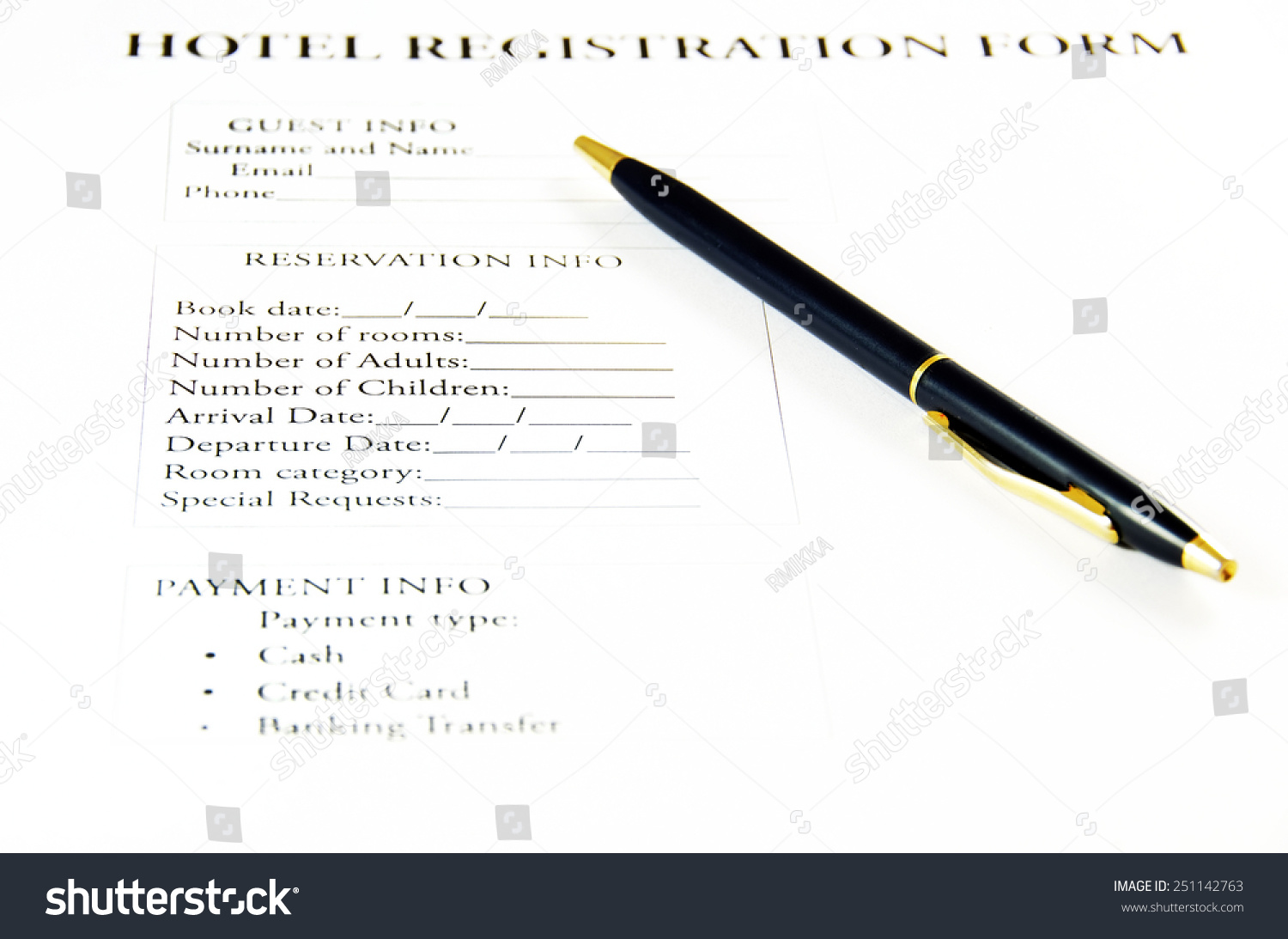 Blank hotel registration form stock photo royalty free 251142763 blank hotel registration form thecheapjerseys Gallery