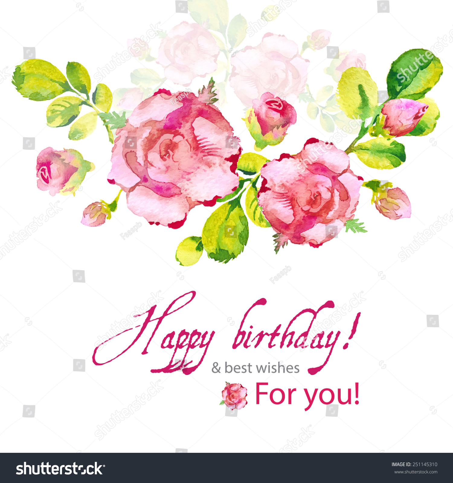 Birthday flower cards happy birthday flowers blossom greeting card happy birthday vintage flower card vector izmirmasajfo Gallery