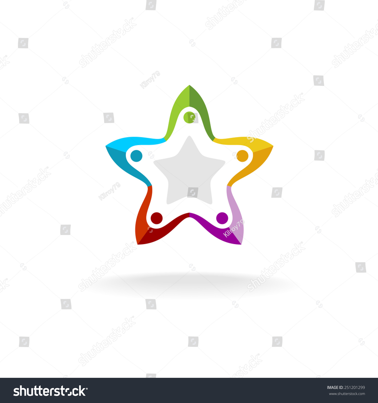 Five people round star shape logo stock vector 251201299 five people round in a star shape logo template colorful flat style pronofoot35fo Images