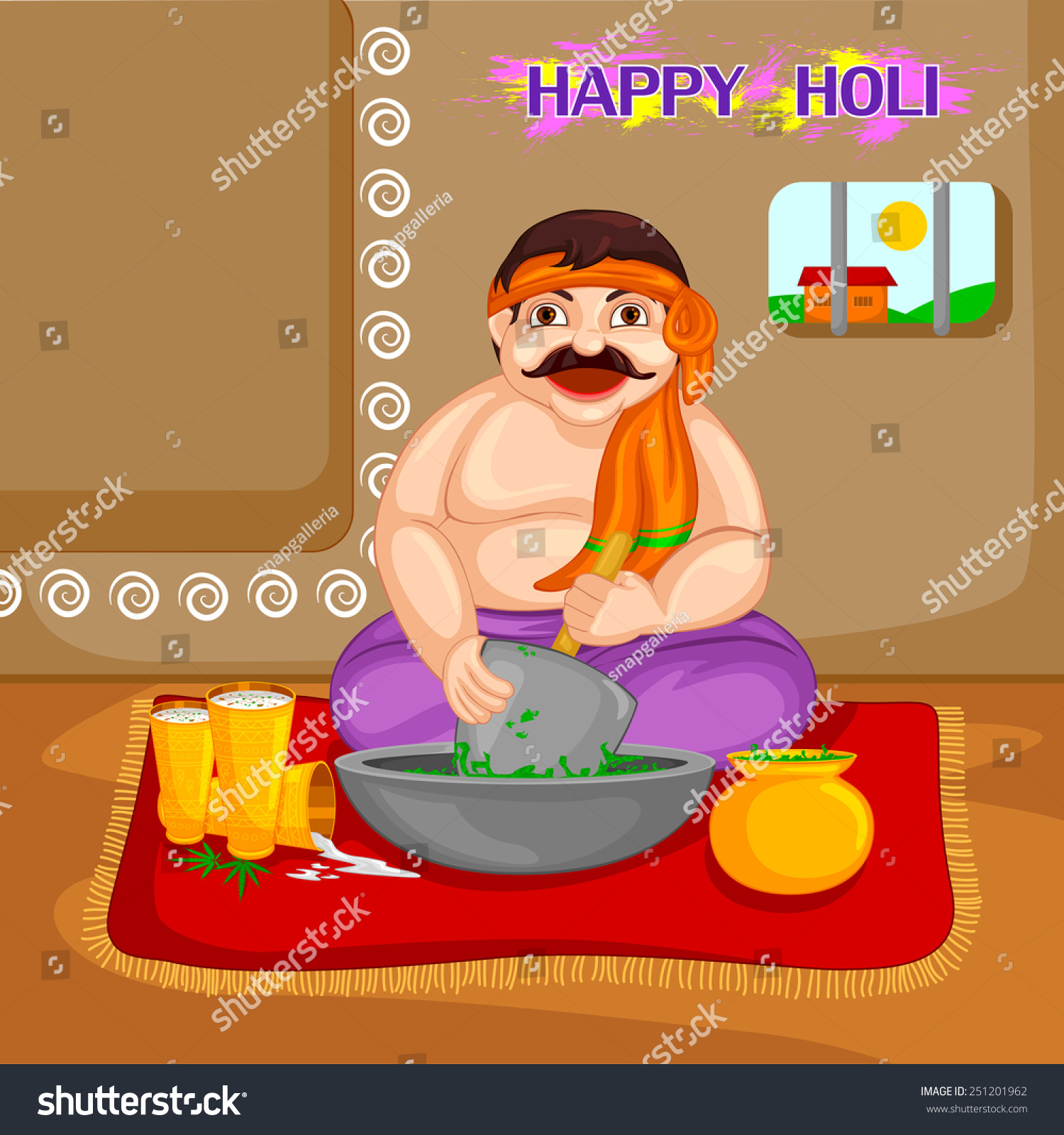 Holi Bhang Ghtate huye Thandai weed Vector, Graphics, Wallpapers, Pictures, Images, Photos, Pics and snaps for Free Download