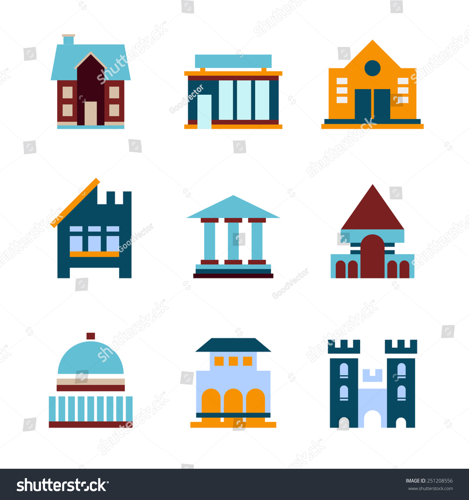 Building icon set abstract architecture icons stock vector for Architecture icon