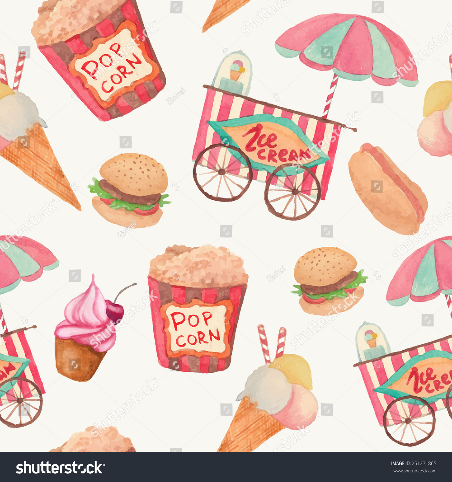 Seamless Ice Cream Background Vintage Style: Watercolor Fast Food Pattern Seamless Texture Stock Vector