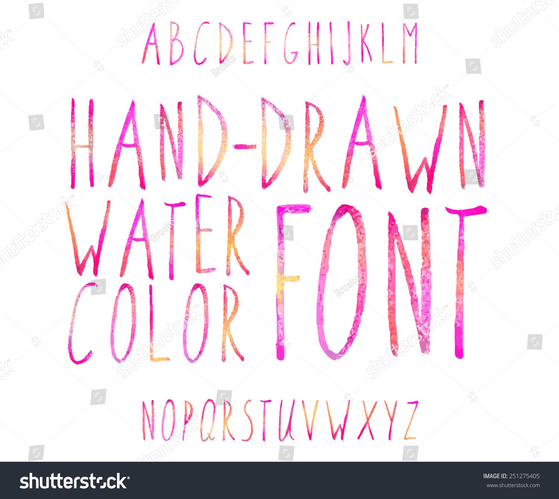 Vector Watercolor Colored Alphabet Handdrawn Stylish Stock Vector ...