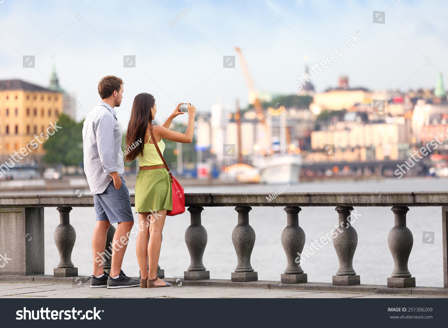 Tourist Happy Young Man Taking Selfie Photo Vernazza ... |Europe Tourist Taking