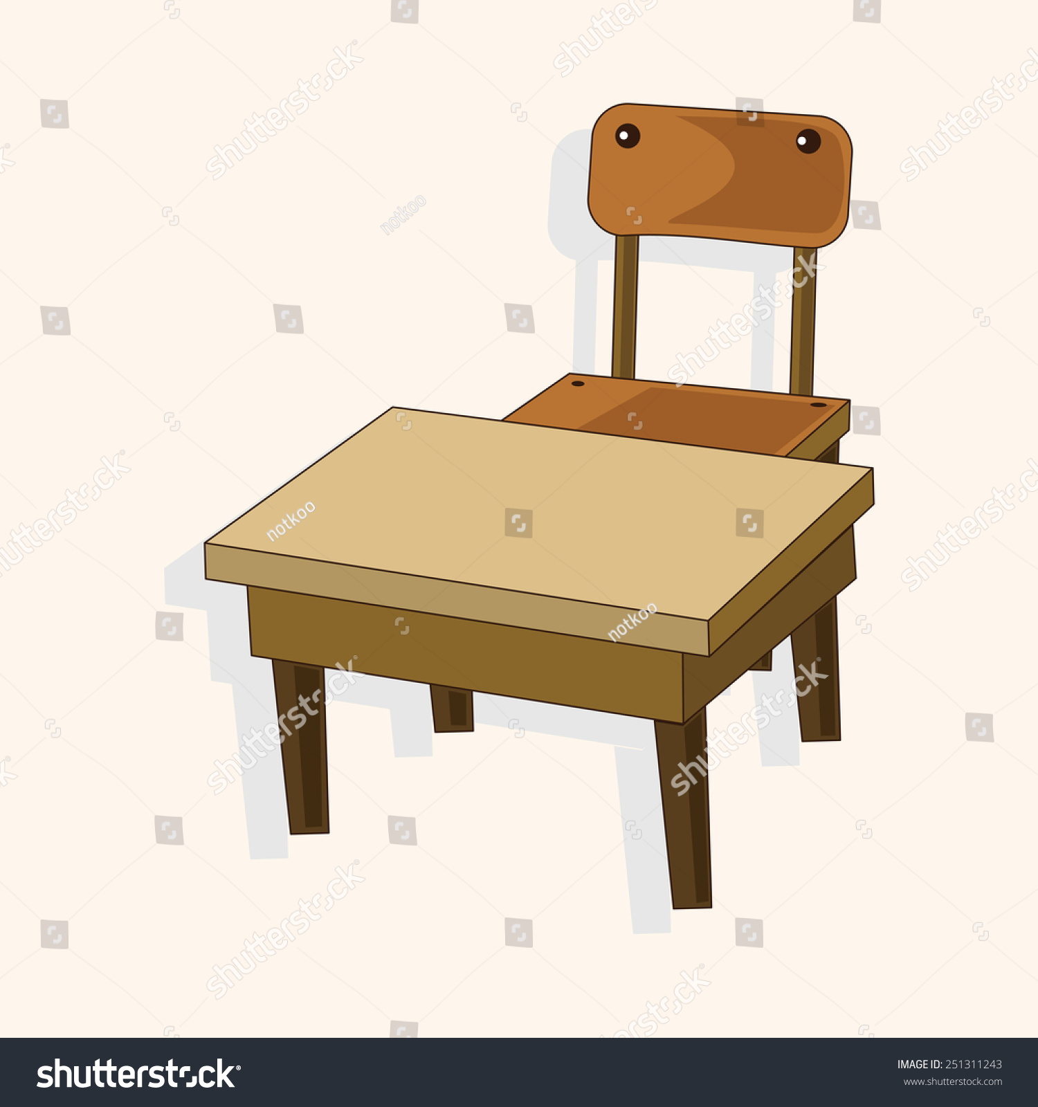 Cartoon Classroom Desk Chair Stock Illustration