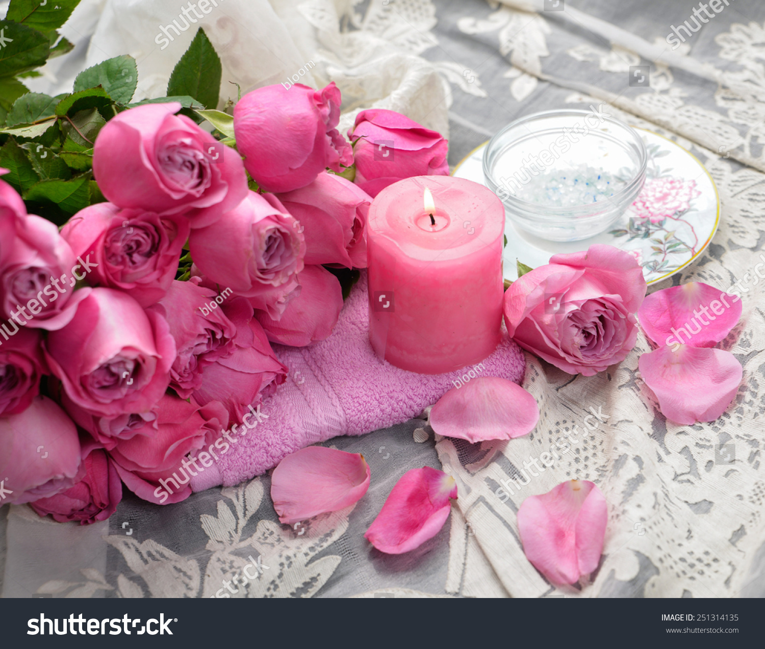 Bouquet roses lying on with candle on towel and silk ez canvas id 251314135 izmirmasajfo