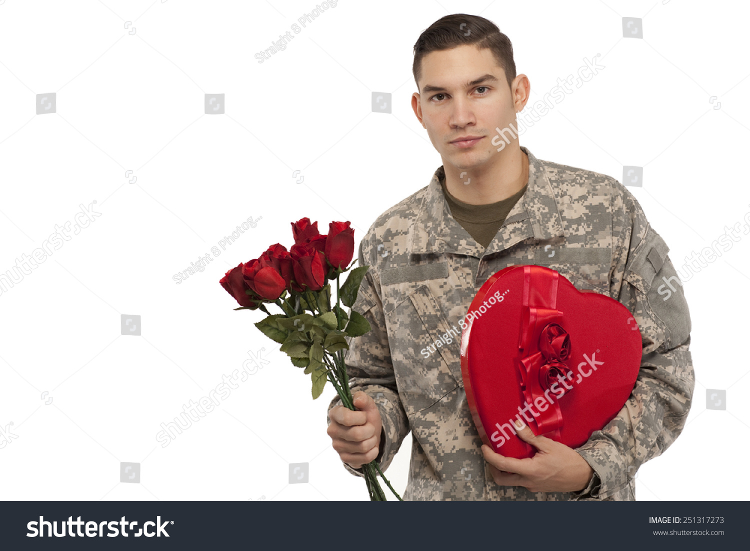 Veteran Soldier Holding Rose Bouquet Gift Stock Photo Edit Now 251317273