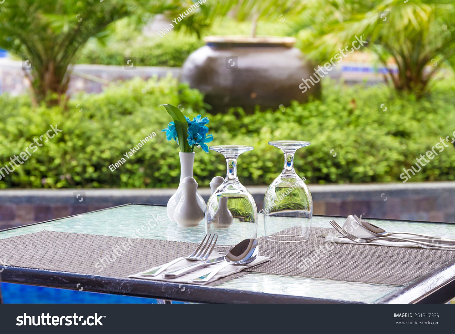 Restaurant table setup - Table Setup In Outdoor Cafe Small Restaurant At Hotel Poolside Summer Vacations Meal