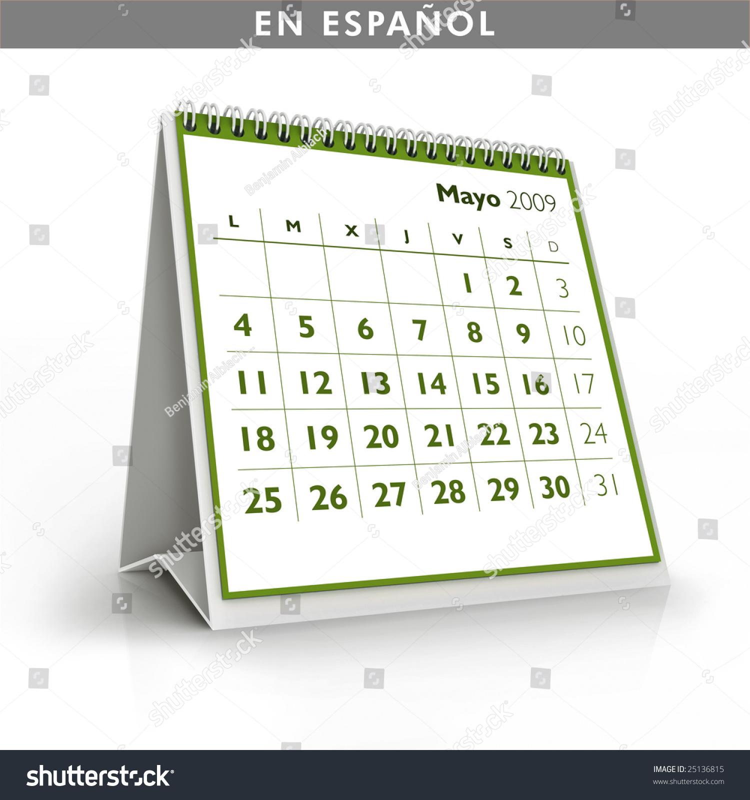 May Spanish Calendar : Calendar may spanish language stock photo