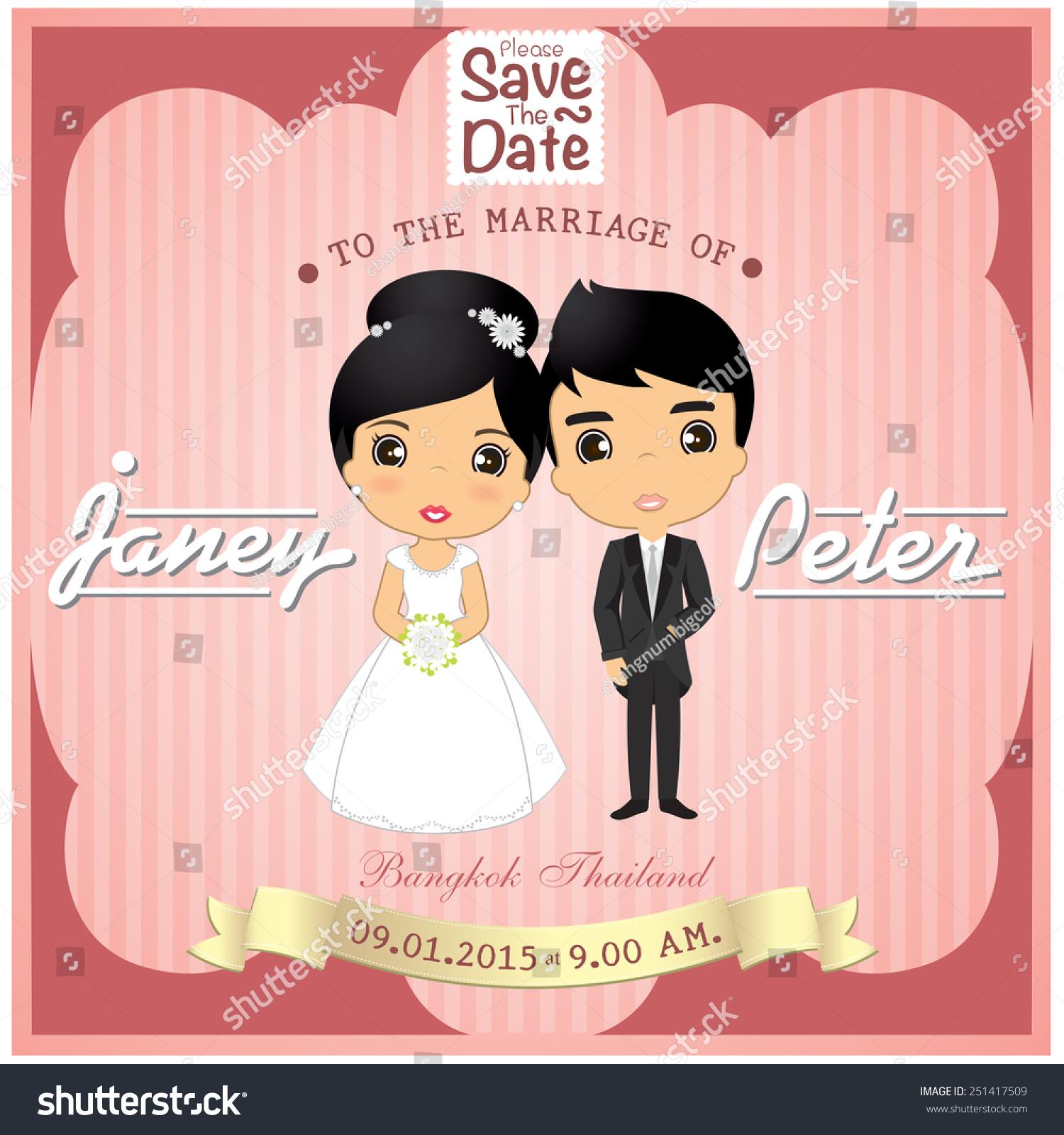 Wedding Card Vector Cartoon Bride Groom Stock Vector HD (Royalty ...