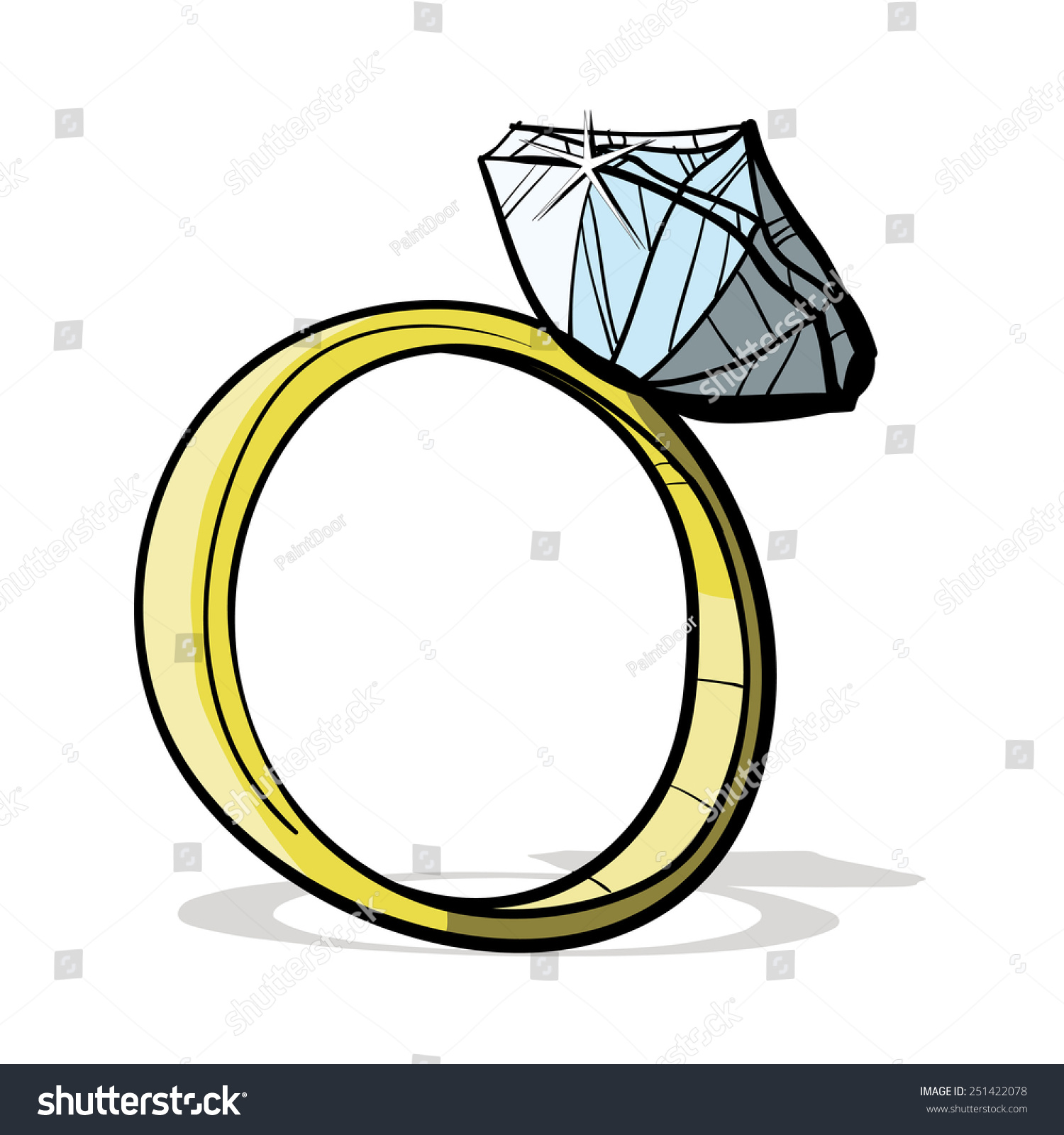 Diamond Ring Cartoon Outline
