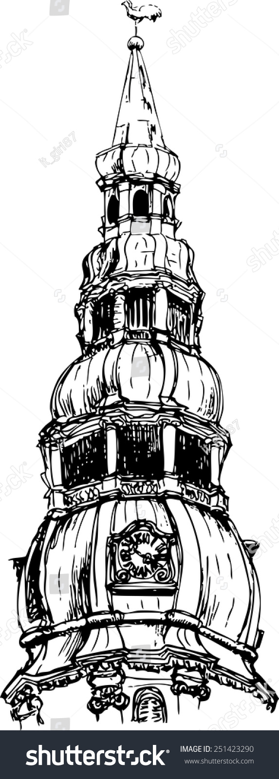 sketch of a church tower