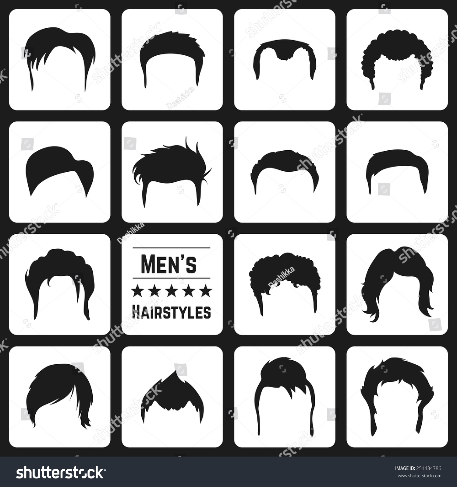 Different Types Mens Haircuts Vector Illusatrtion Stock Vector (Royalty  Free) 251434786