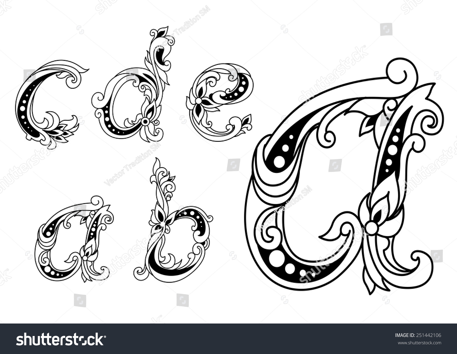 Calligraphic floral lower case alphabet letters stock