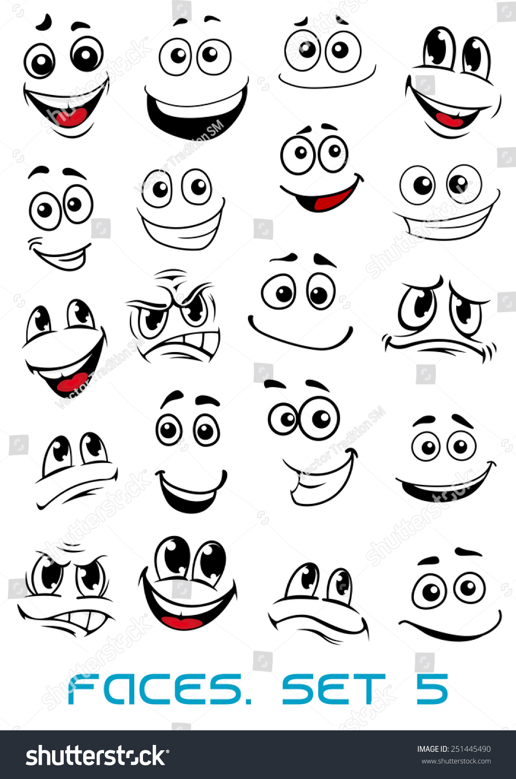 Cartoon faces with different expressions, mostly happy and smiling, featuring the eyes and mouth, design elements on white #251445490