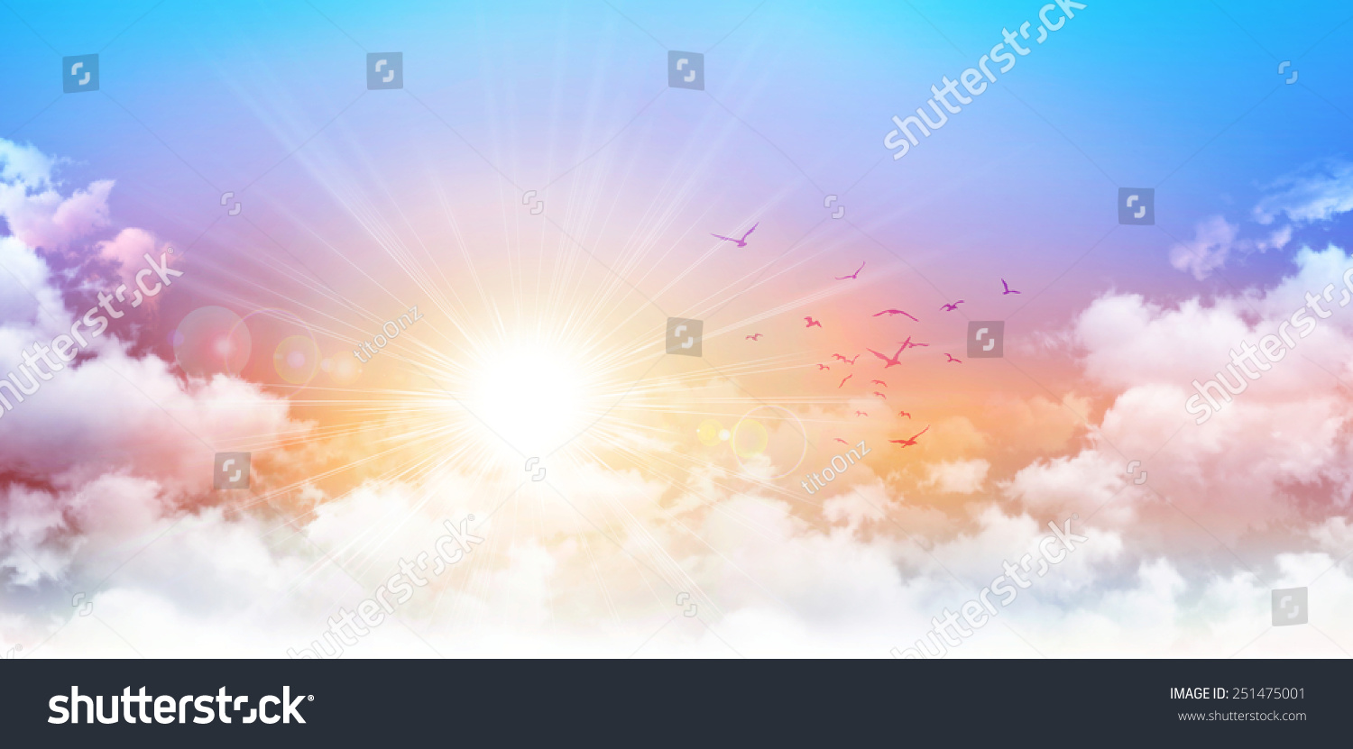 Panoramic sunrise. High resolution morning sky background. Rising sun and birds breaking through white clouds #251475001