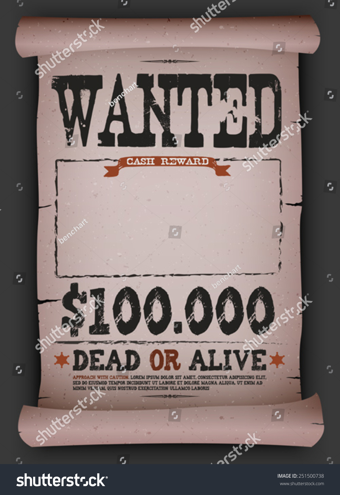 Royalty Free Wanted Vintage Poster On Parchment 251500738 Stock