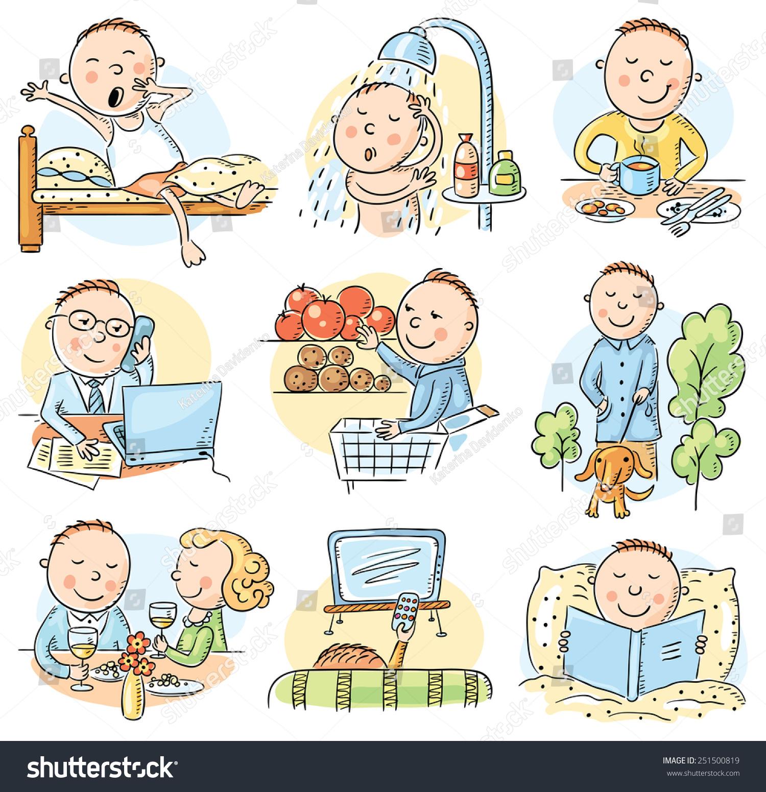 cartoon man daily routine activities set stock vector royalty free